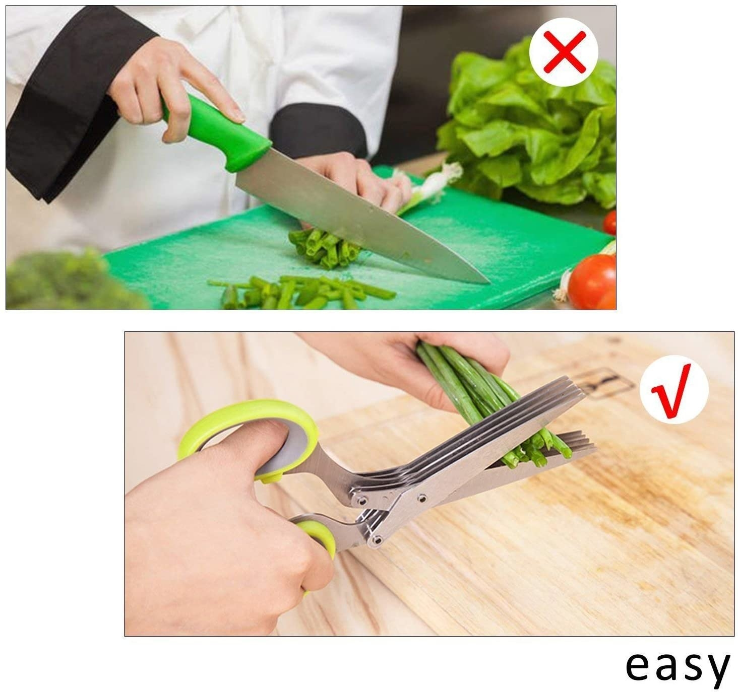person using the scissors to cut green onions