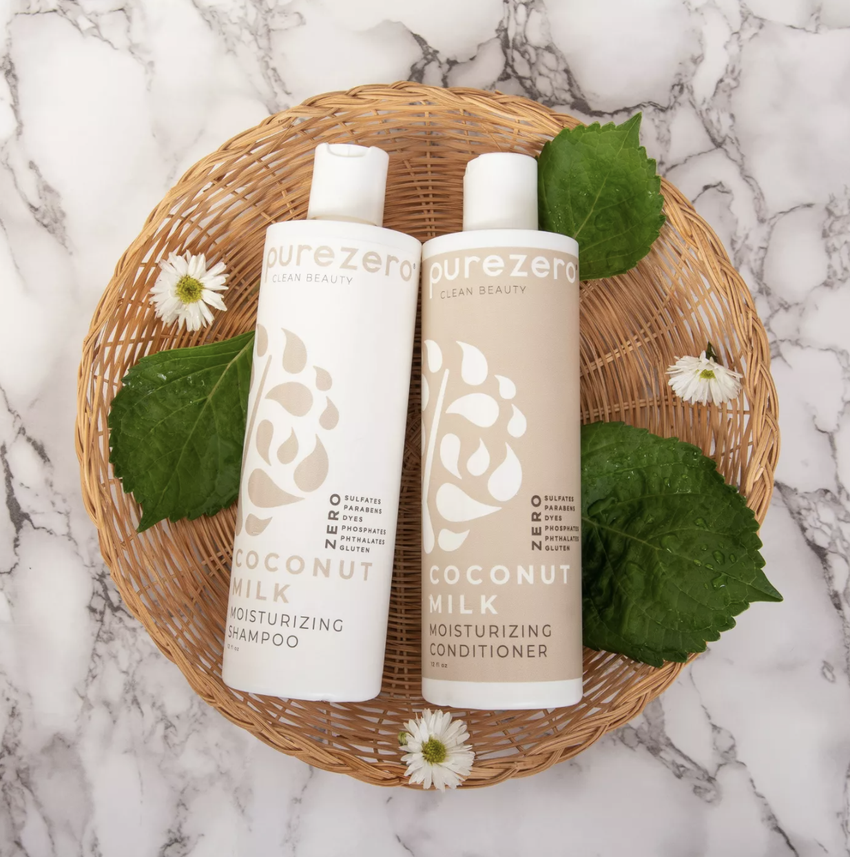 the moisturizing shampoo and conditioner bottles in a basket