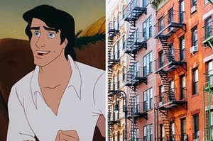 """On the left, Prince Eric from """"The Little Mermaid,"""" and on the right, the exterior of an apartment building"""