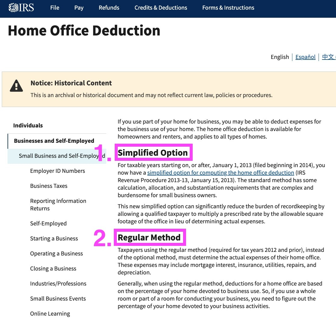 Screenshot of home office deduction options