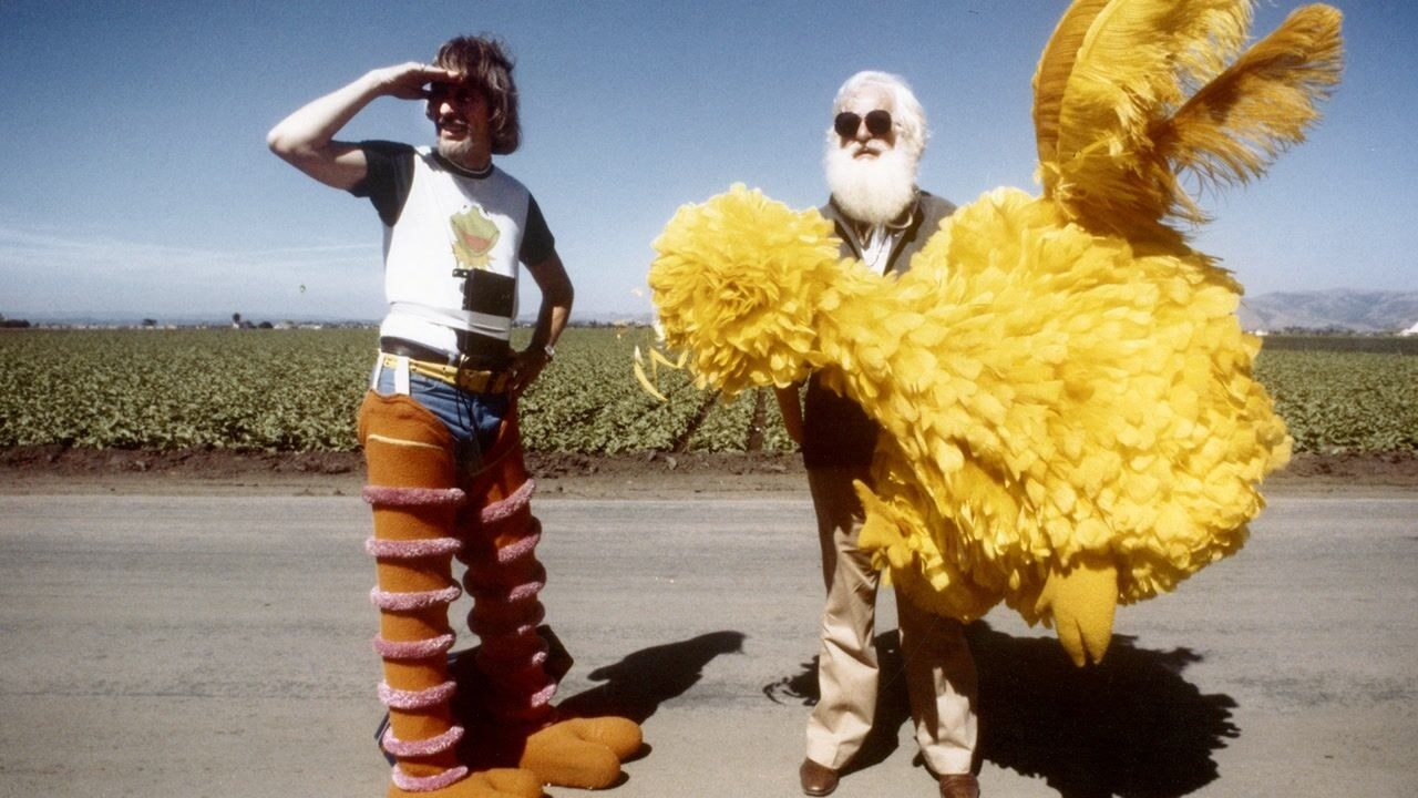 Caroll Spinney wearing part of his Big Bird costume