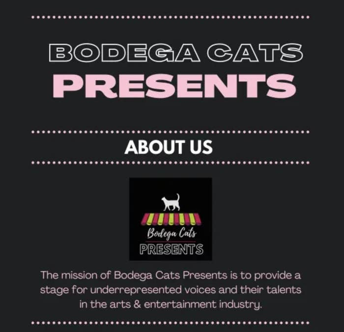 A screenshot from the Bodega Cats website saying their mission is to provide a stage for underrepresented voices in the entertainment industry