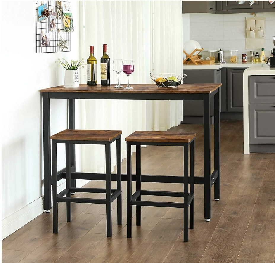 The bar set with table and two barstools