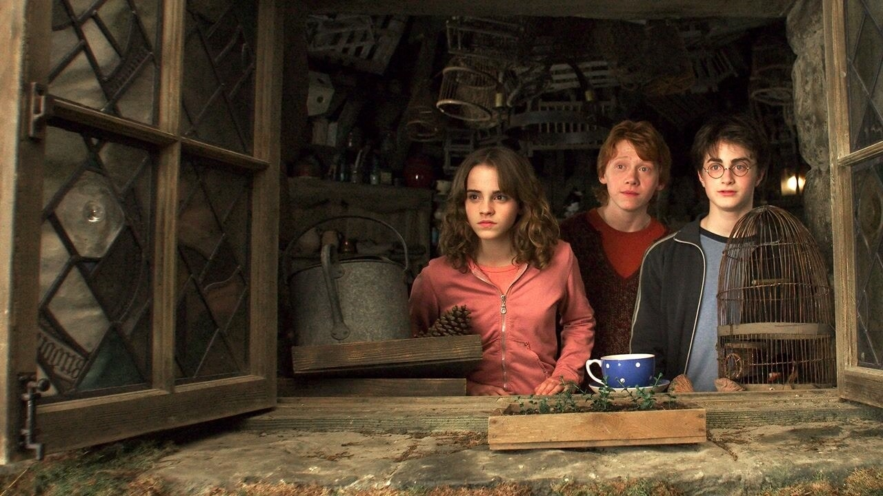Daniel Radcliffe, Emma Watson, and Rupert Grint's characters looking out a window