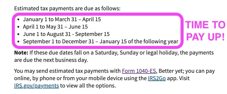 Screenshot of estimated tax payment dates