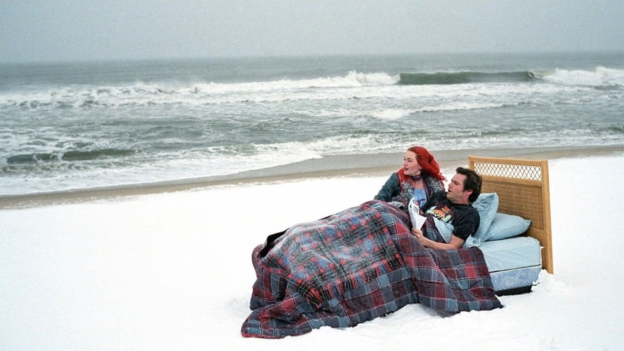 Kate Winslet's character and Jim Carrey's character in a bed by the ocean