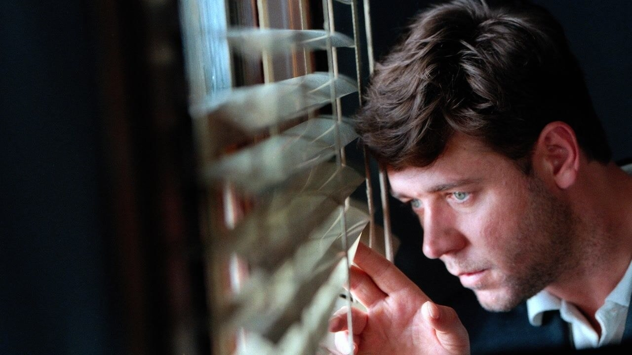 Russell Crowe's character peers through a window