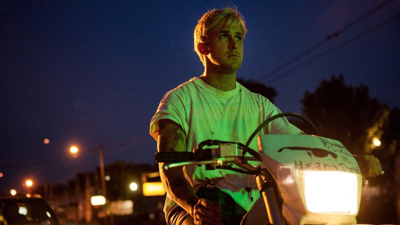 Ryan Gosling's character rides a motorcycle