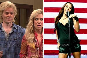 The Californians from SNL; Miley Cyrus in front of an American Flag