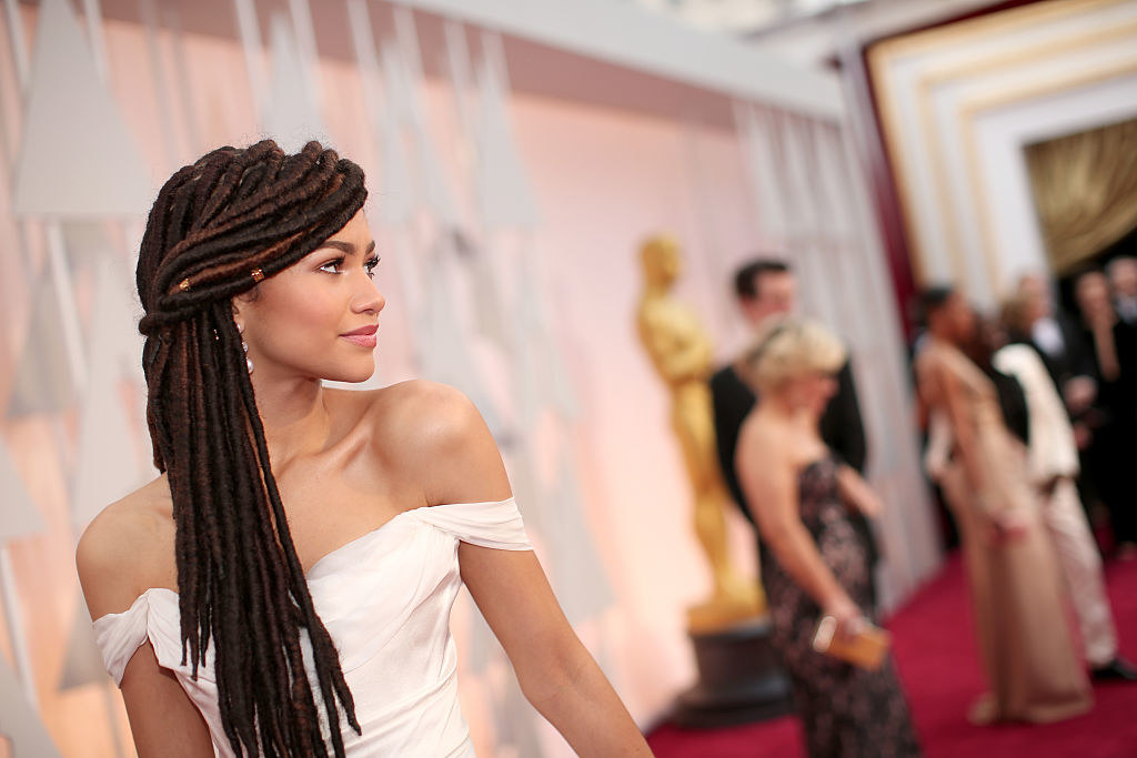 Zendaya wears her hair in locs to the 87th Annual Academy Awards at Hollywood & Highland Center on February 22, 2015 in Hollywood, California