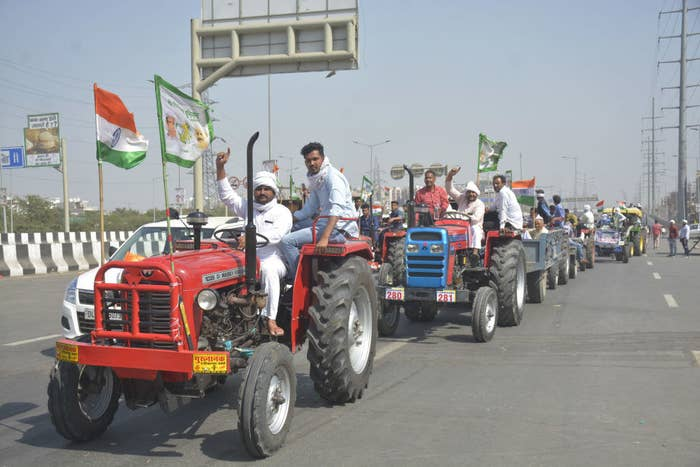 Farmers from Jalalabad Village arrive on tractors to one of New Delhi's borders, Ghazipur, to participate in the ongoing protests.
