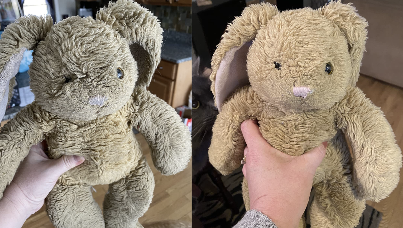 A customer review photo showing their stuffed animal before and after cleaning it with the spot treatment