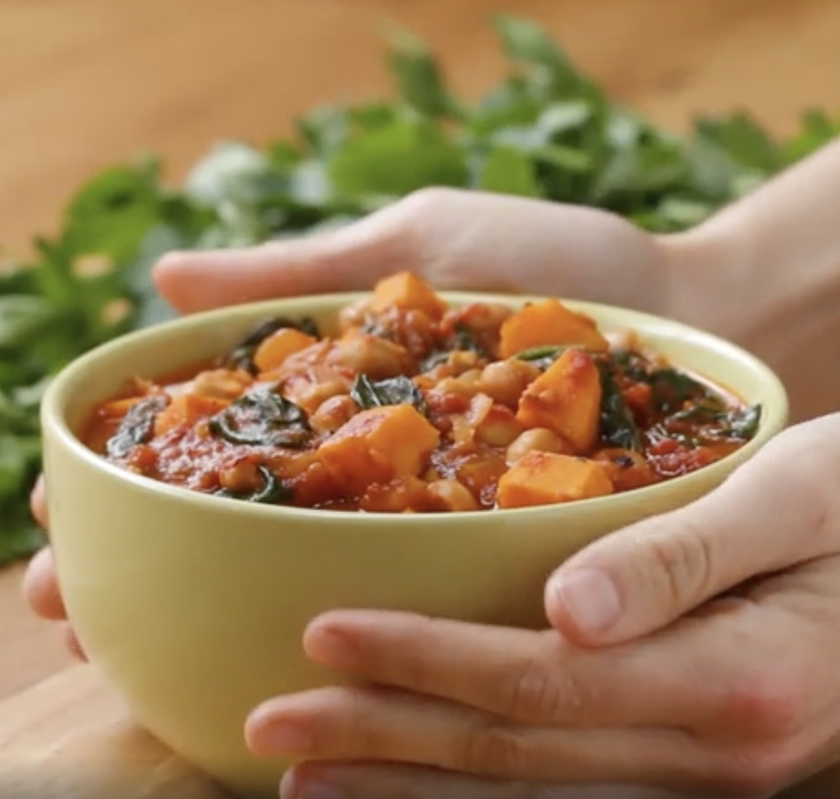 A bowl of chickpea sweet potato stew