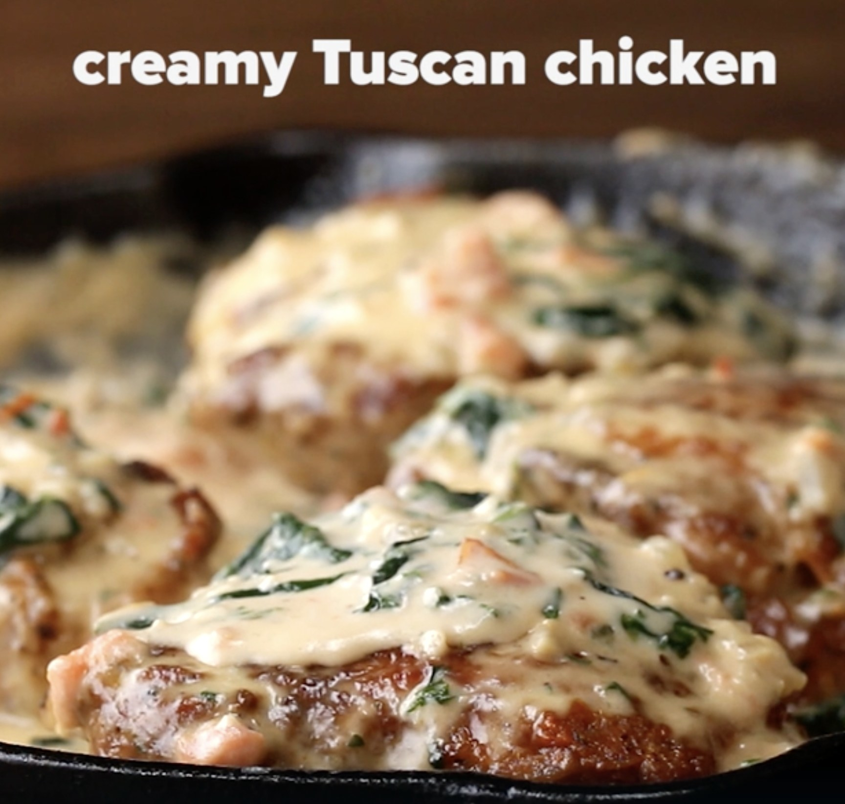 A plate of creamy Tuscan chicken