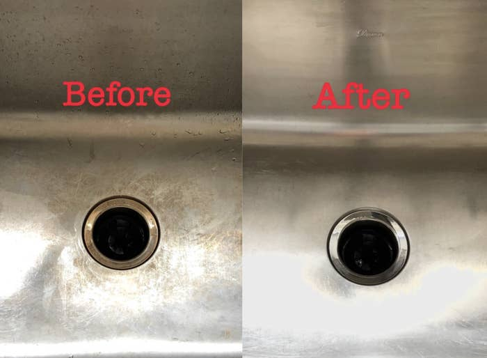 A customer review photo showing the before and after results of using the sink cleaner