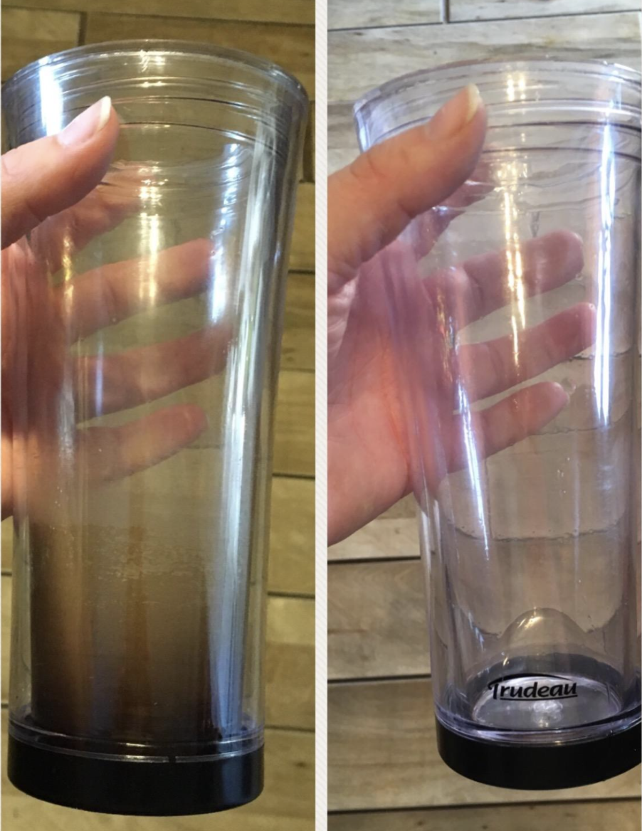 A customer review photo showing all the gunk removed from their coffee mug