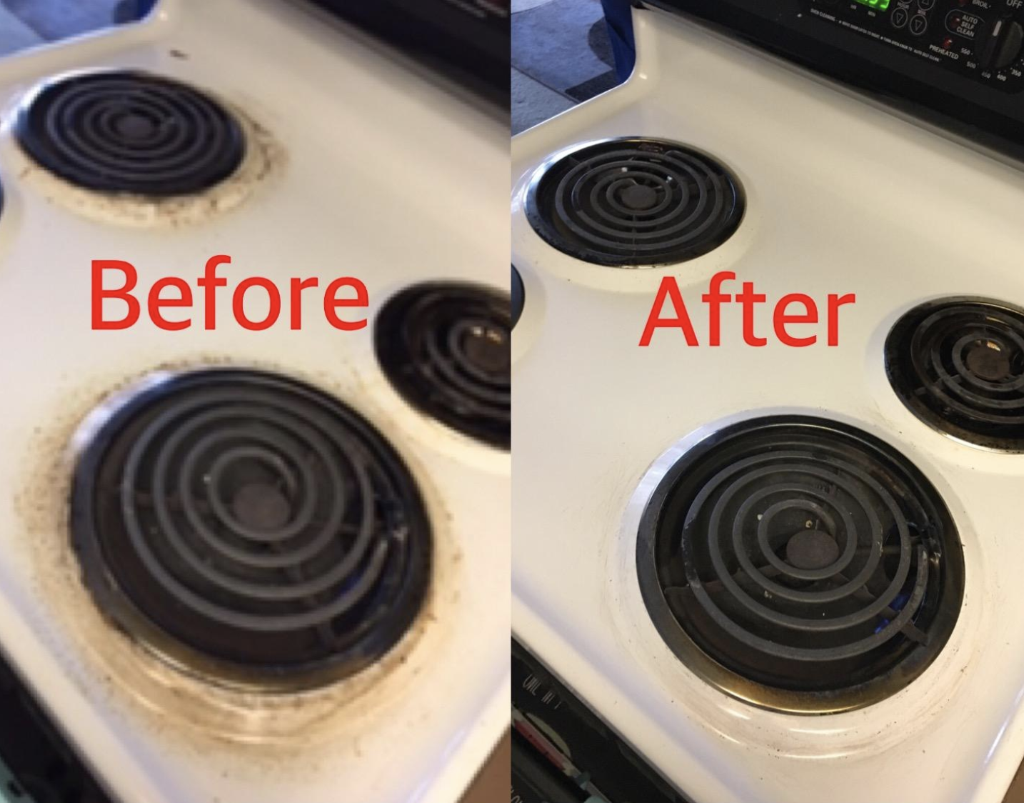 A customer review photo showing their stove top before and after using the cleaner