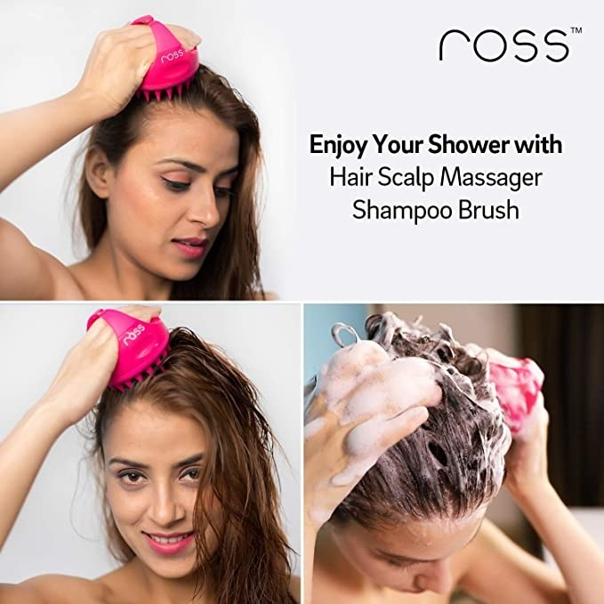 Woman massaging her scalp with the shampoo brush.