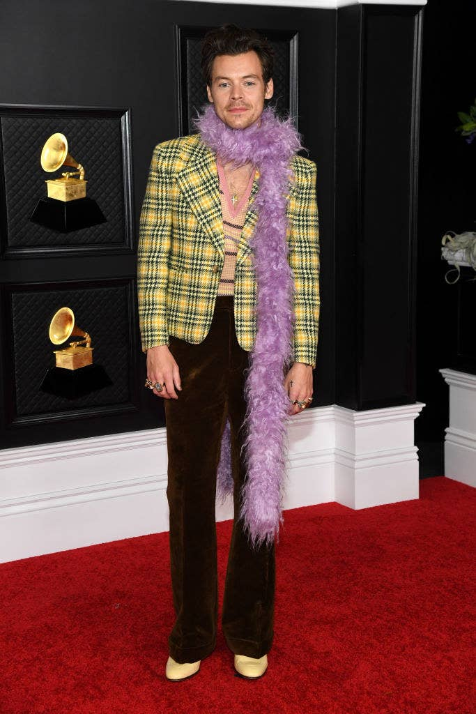 Harry Styles wears a Clueless-inspired look at the 63rd Annual Grammy Awards