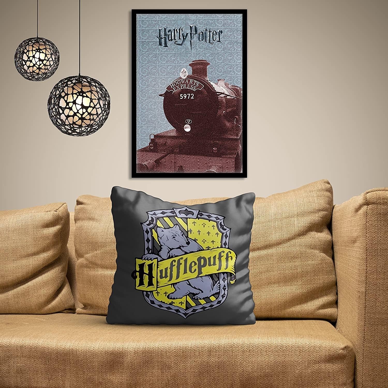 A yellow and grey Hufflepuff cushion