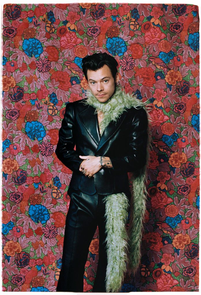 Harry Styles wears a green boa to the 2021 Grammys