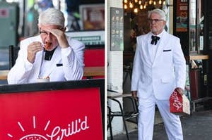 Fake KFC Colonel seen eating Grill'd HFC Hot Bites
