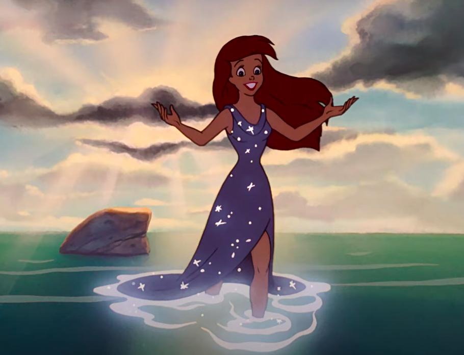 Ariel wearing a gown