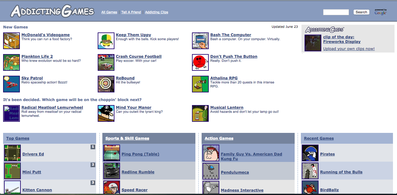 Homepage with rows and rows of icons you can click to play online games