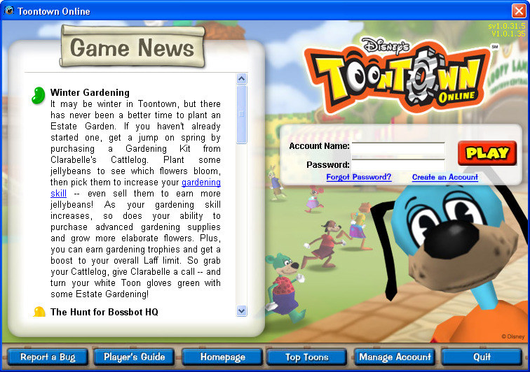 Login page for Toontown on an old windows computer