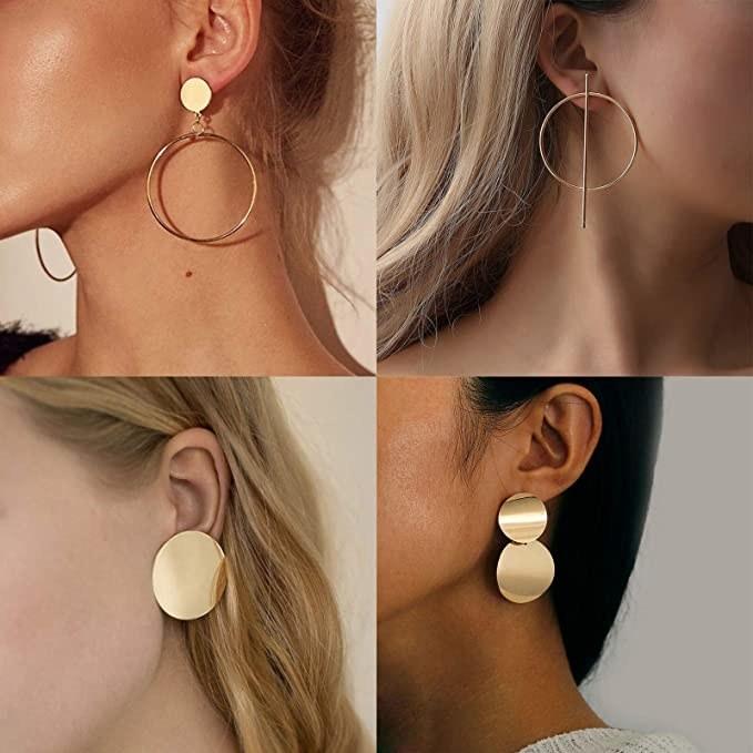 models wearing various gold tone earrings