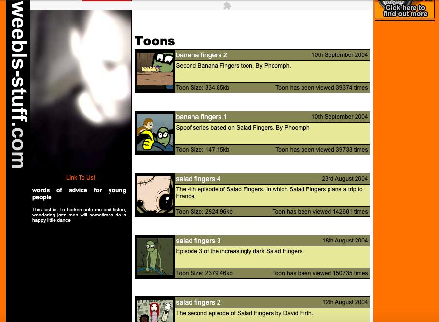 Website homepage listing toons like banana fingers and salad fingers