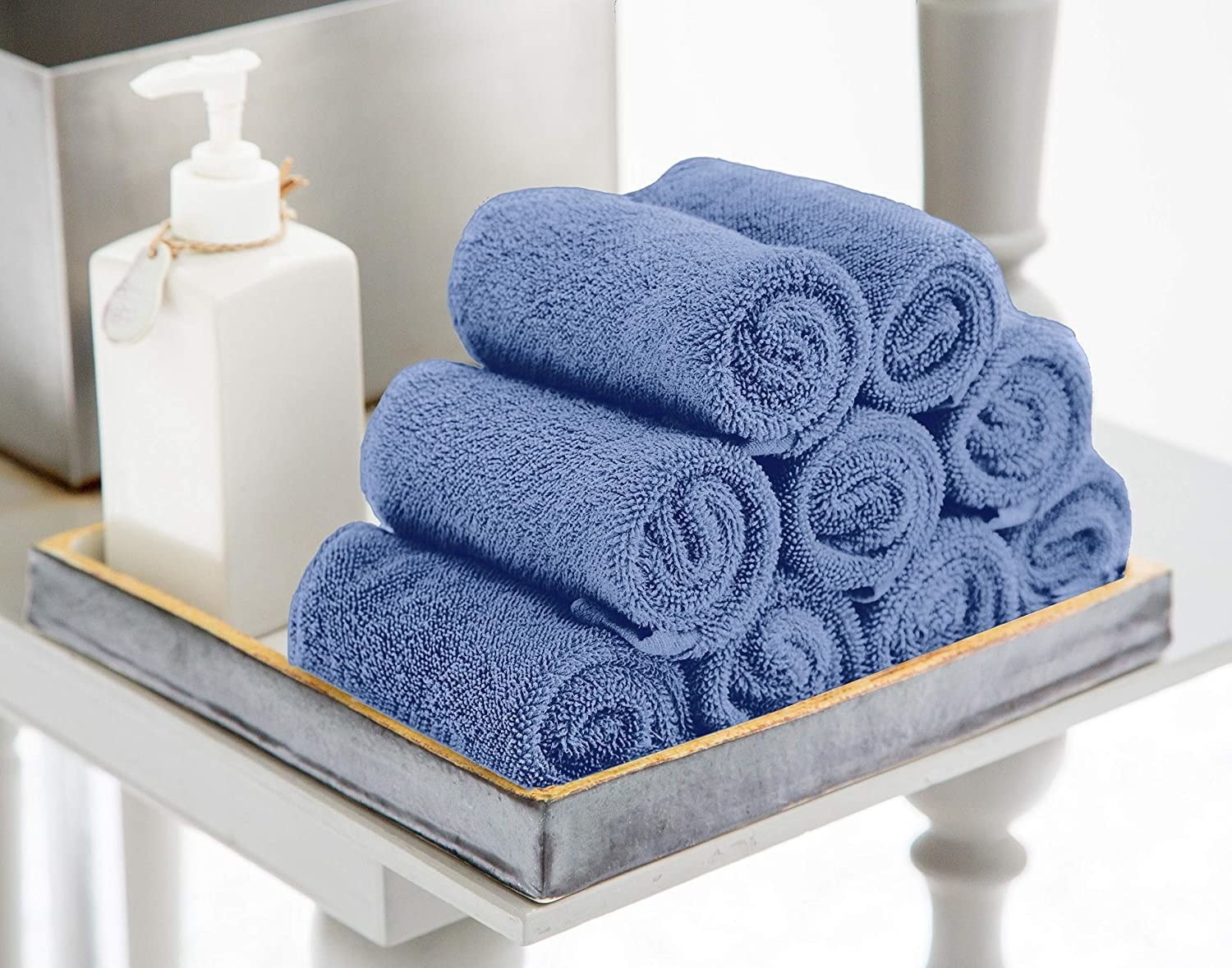 The washcloths in blue