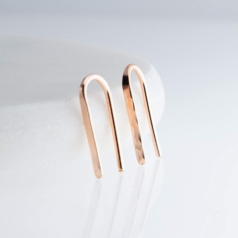 hammered rose gold tone earrings in a U shape