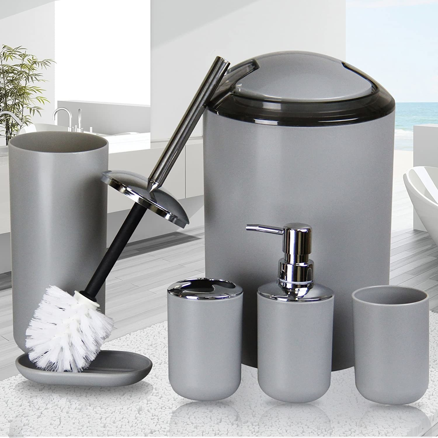 The set that includes a trash can, soap dispenser, soap dish, toilet brush, toothbrush holder, and toothbrush cup in apricot