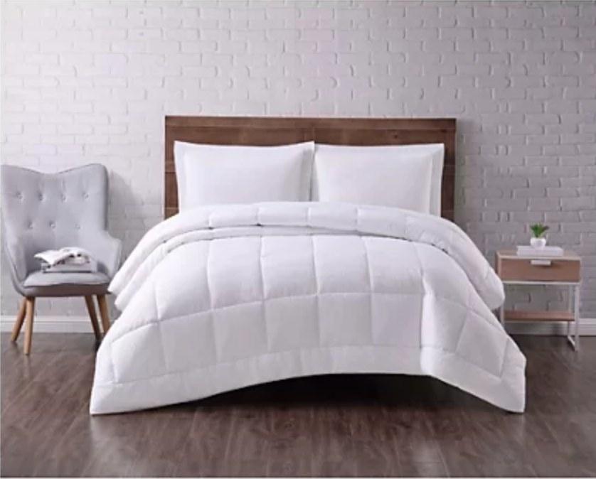 A microfiber down comforter