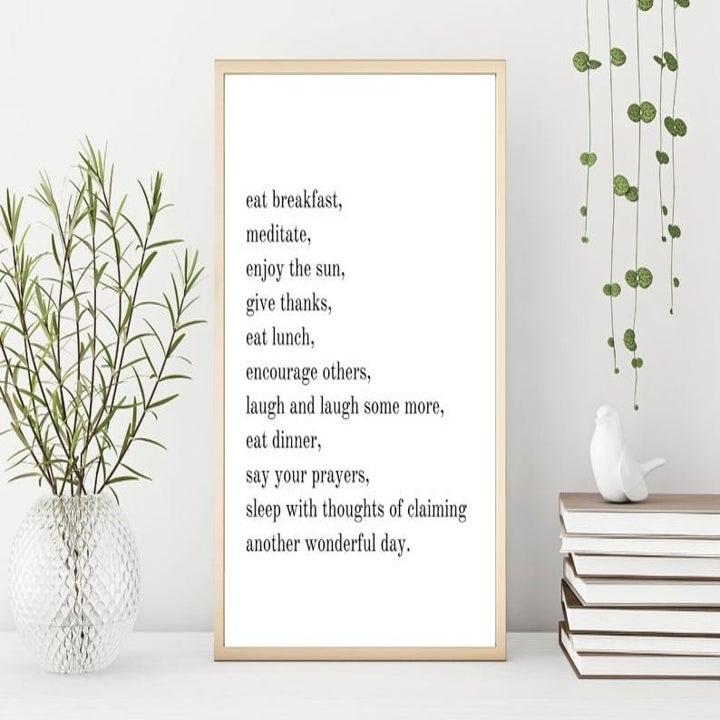 Minimalist inspirational saying with white background and black text about enjoying life