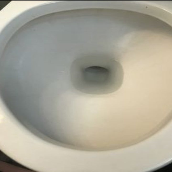 An after picture of the toilet with no stains or grime