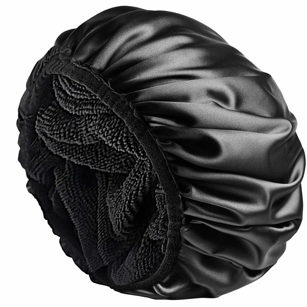 The shower cap with the microfiber lining exposed