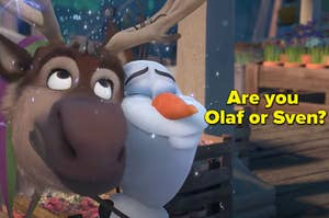 """A reindeer and snowman are hugging with a label that reads: """"Are you Olaf or Sven?"""""""