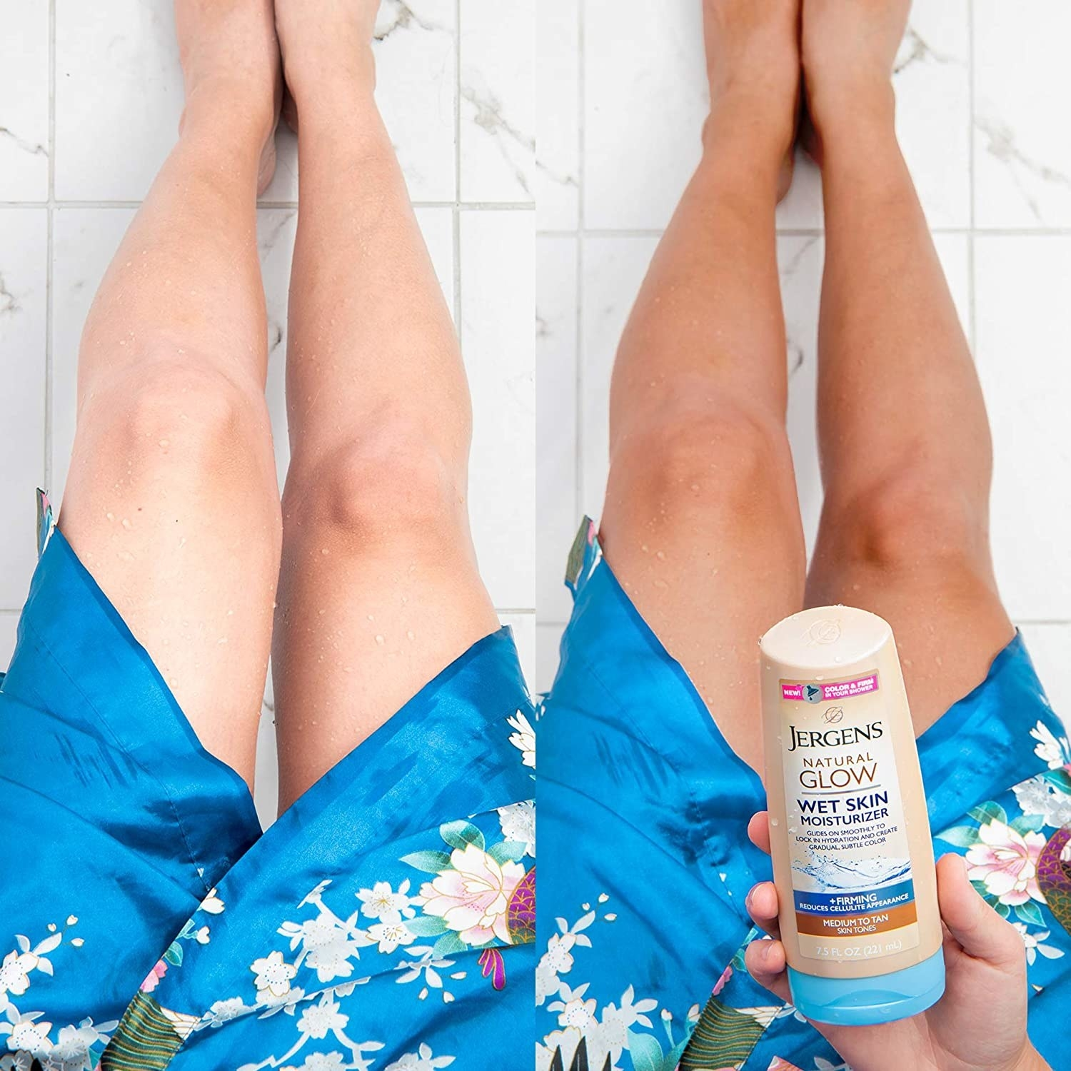 A before and after photo showing the tan that can develop after using the lotion