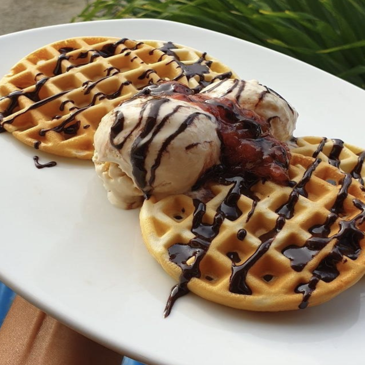 reviewer of waffles topped with chocolate sauce and ice cream