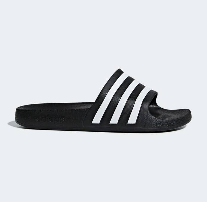 Black slides with three white stripes