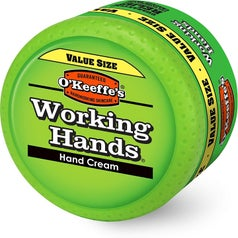 a green container of working hands cream