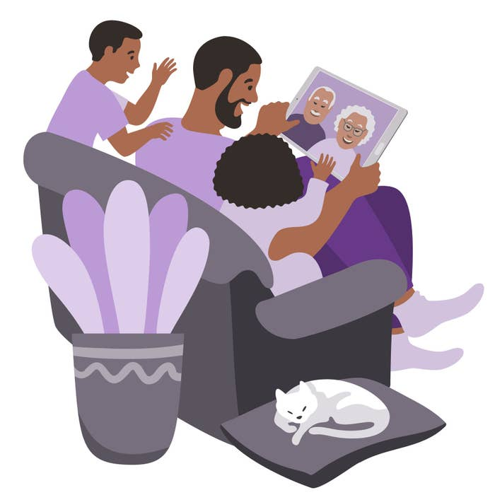 A father, son, and daughter sit on a couch and talk with two grandparents via FaceTime on a tablet in this illustration