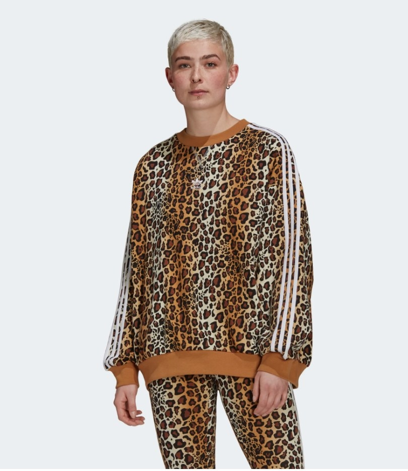 Model wearing leopard crewneck