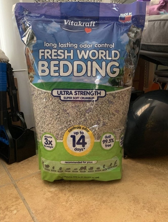 A bag of bedding in a reviewer's home