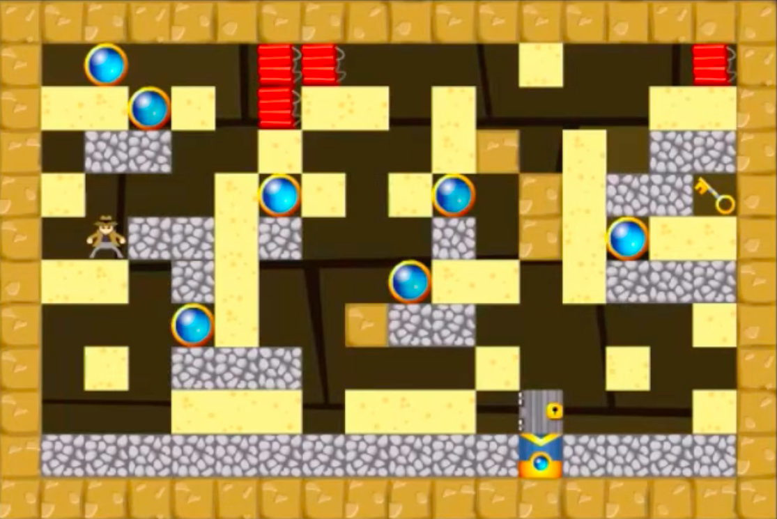 Screenshot of a complex maze wired with bombs and booby traps