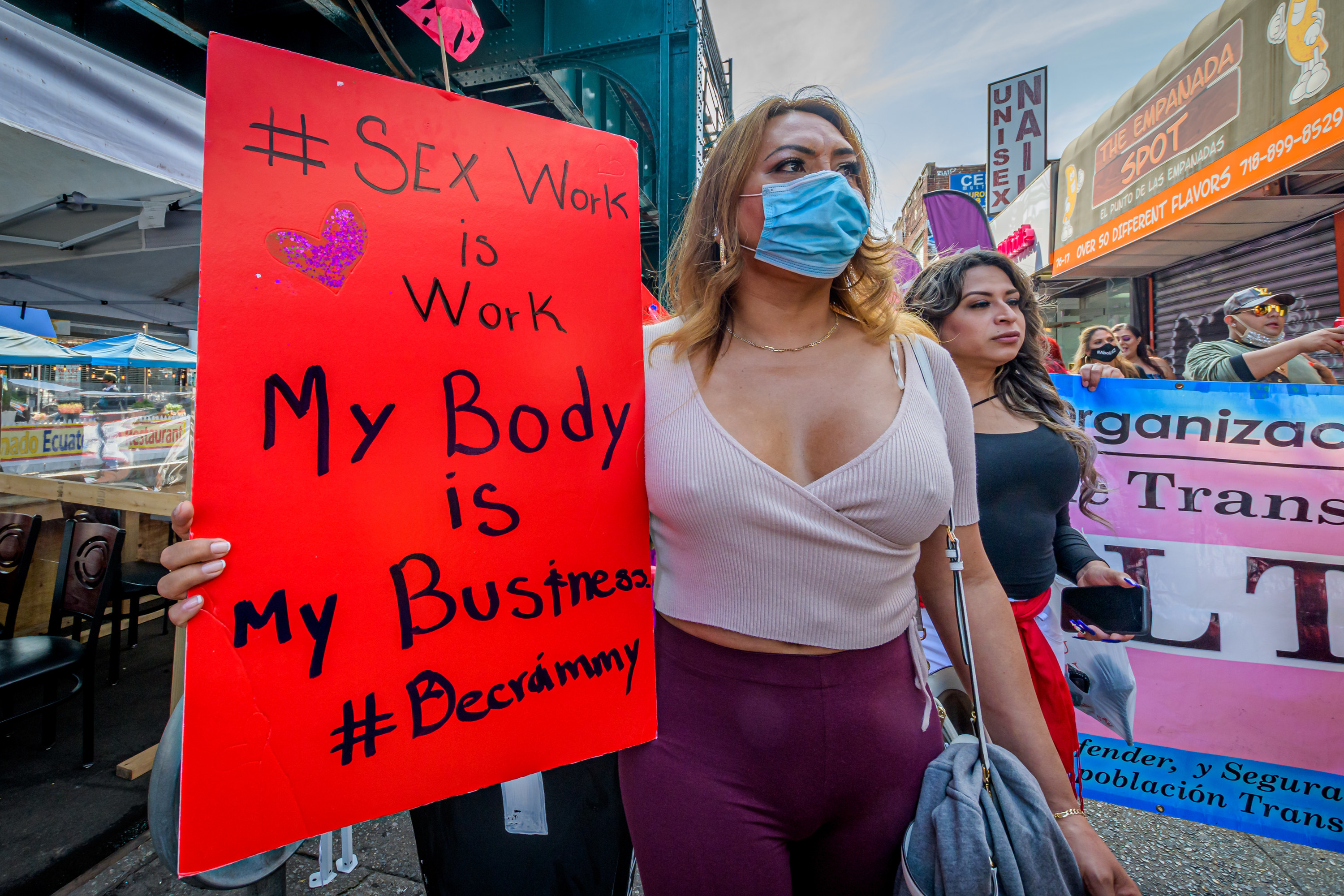 An image of a march for sex worker rights