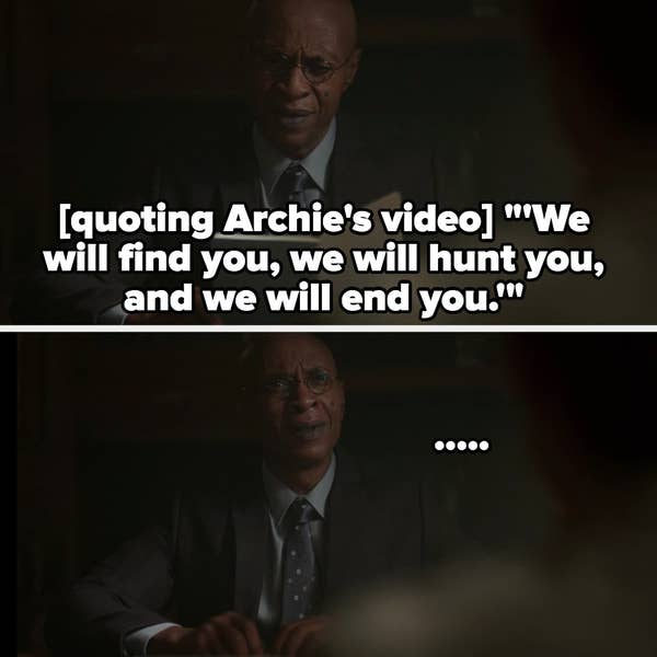 Weatherbee's reaction after watching Archie's video