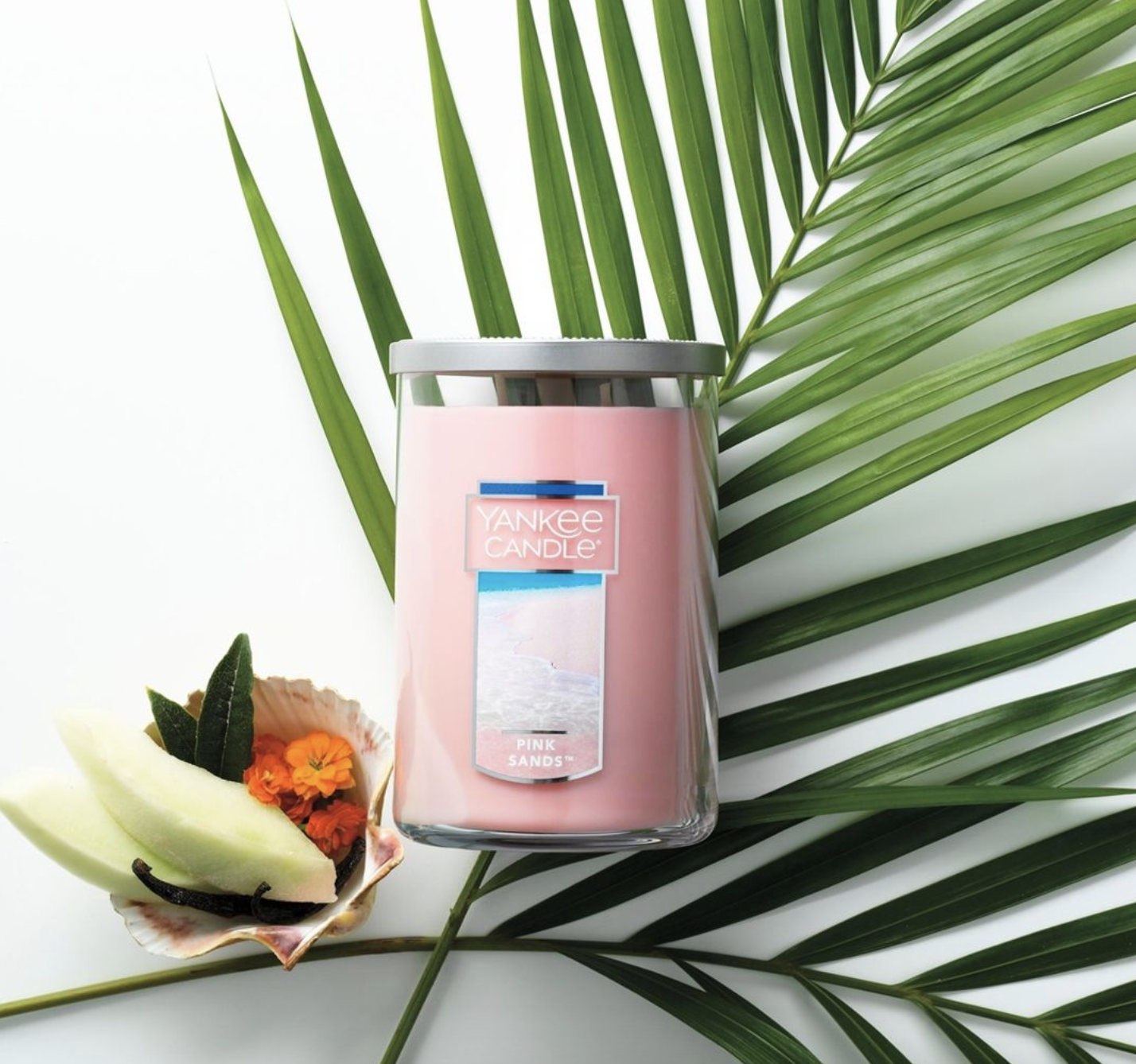 The Pink Sands candle in their signature large tumbler